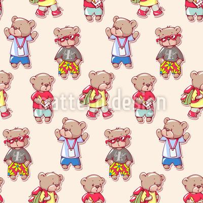 Teddybären Kinder Nahtloses Vektormuster