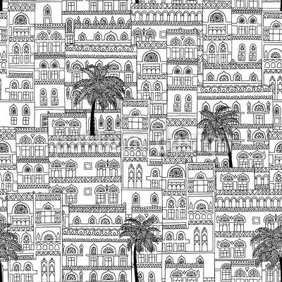 Casas Arabescas Design de padrão vetorial sem costura