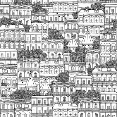 Casas Georgianas Design de padrão vetorial sem costura