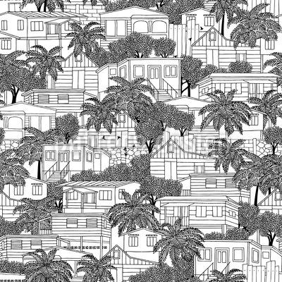 Karibische Häuser Nahtloses Vektormuster