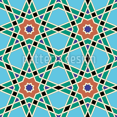 Moroccan Star Lattice Seamless Vector Pattern