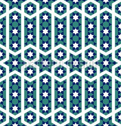 Dança das Estrelas Marroquino Design de padrão vetorial sem costura