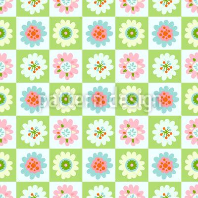 花とチェス盤 シームレスなベクトルパターン設計