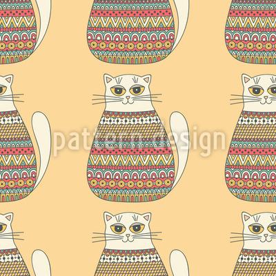 Ethno-Katzen Vektor Muster