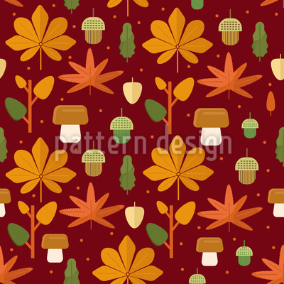 Pilze Und Blätter Vektor Muster