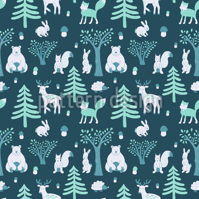Sleepwalking Animals Seamless Vector Pattern Design