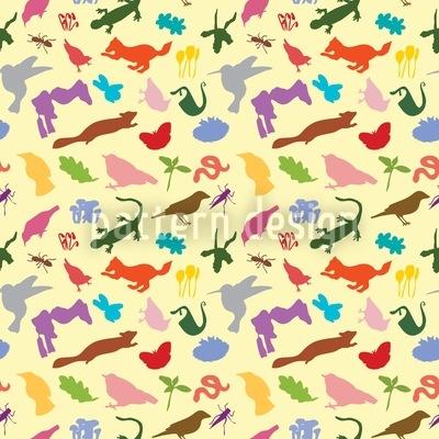 Colorful Fauna Seamless Vector Pattern Design