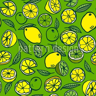 Zitronen und Limetten Mix Nahtloses Vektormuster