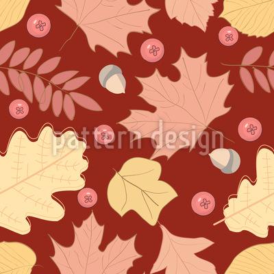 Eicheln Beeren und Blätter Nahtloses Vektor Muster