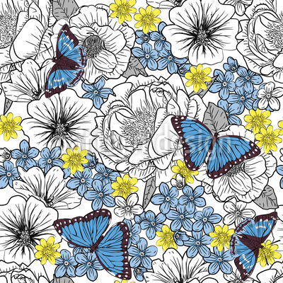 Blumen Skizzen Mit Schmetterlingen Vektor Ornament