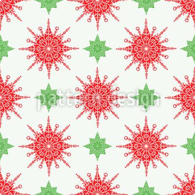 Estrelas delicadas e flocos de neve Design de padrão vetorial sem costura
