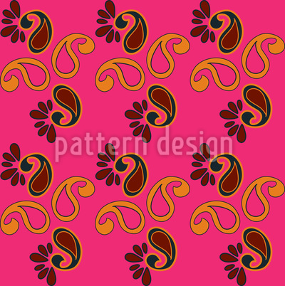 Fancy Paisley Fuchsia Seamless Pattern
