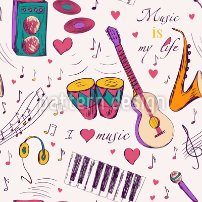 Handgezeichnete Musikinstrumente Designmuster
