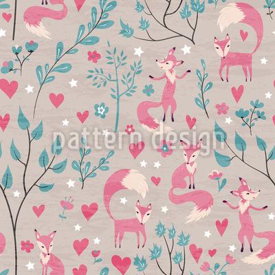 Verliebte Füchse Muster Design