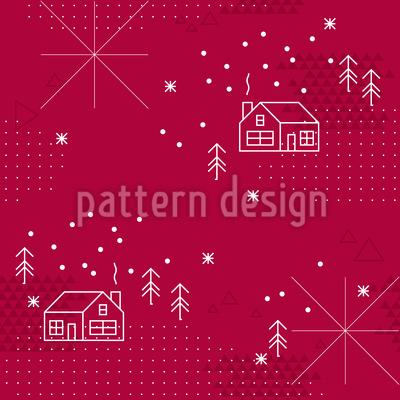 ウィンターコテージ シームレスなベクトルパターン設計