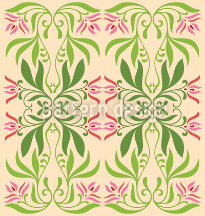 Mystic Flora Green Seamless Vector Pattern Design