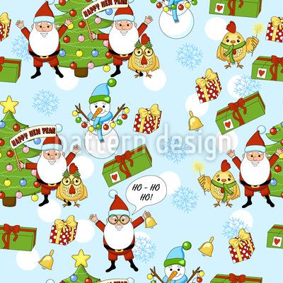 Frohes Neues Jahr Mit Dem Weihnachtsmann Muster Design