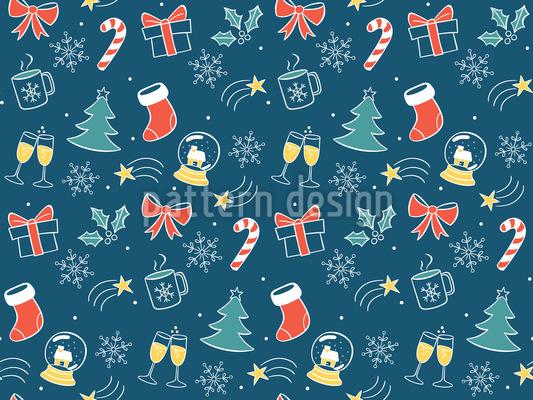 ハッピー・クリスマス・タイム シームレスなベクトルパターン設計