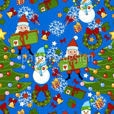 Weihnachtsfeier Mit Dem Weihnachtsmann Vektor Ornament