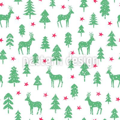 Hirsche Im Verschneiten Wald Vektor Muster