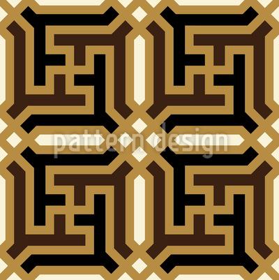Am Mongolischen Hof Nahtloses Vektor Muster
