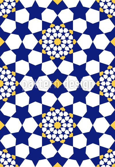 Mosaico Estrela Oriental Design de padrão vetorial sem costura