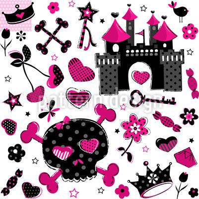 Pirate Princess Seamless Vector Pattern Design