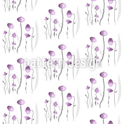 Mädchenhaft Zarte Blumen Nahtloses Vektor Muster