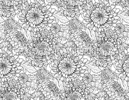 Riesige Chrysanthemen Nahtloses Vektormuster