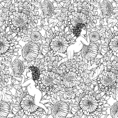 Chrysanthemum And Angels Design Pattern