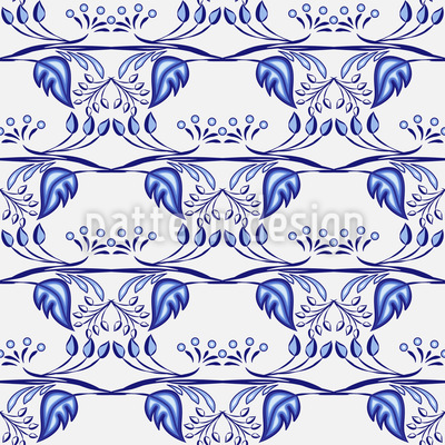 Gzhel Leafage Seamless Vector Pattern Design