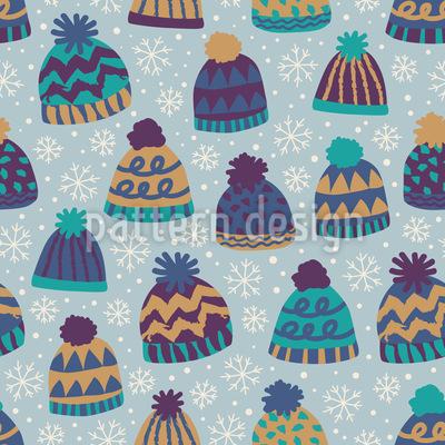 Wintermützen und Schneeflocken Nahtloses Muster