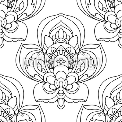 Flor persa Zentangle Estampado Vectorial Sin Costura