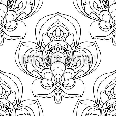Persische Blume Zentangle Nahtloses Vektormuster