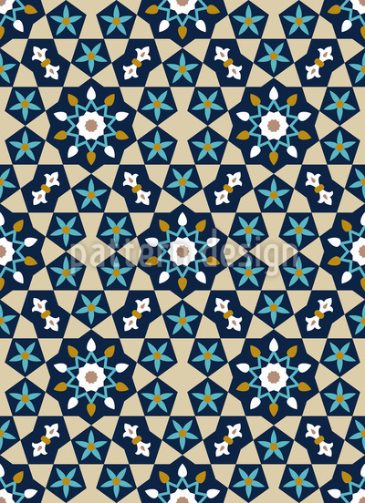 Moroccan Star Mosaic Seamless Vector Pattern Design