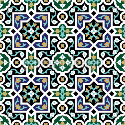 Geometric Arabesque Repeating Pattern