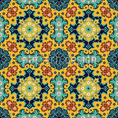 Persische Florale Pracht Nahtloses Vektormuster