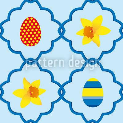 Narzissen Zu Ostern Blau Vektor Design