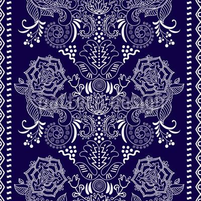 Renda Floral Design de padrão vetorial sem costura