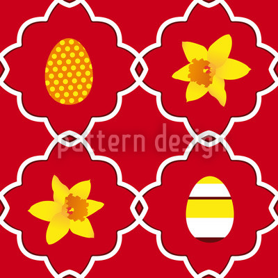 Easter Daffodils Red Repeating Pattern