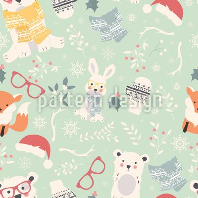 Weihnachten Der Waldtiere Vektor Design