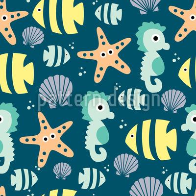 Animais Marinhos Bonitos Design de padrão vetorial sem costura