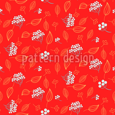 Vogelbeere Winter Designmuster