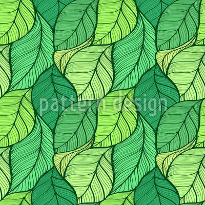 Dança das Folhas Onduladas Design de padrão vetorial sem costura