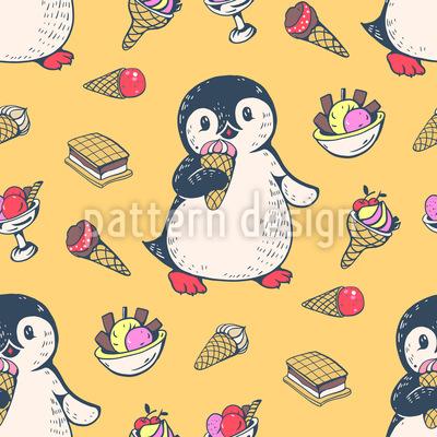 Ice-Cream-Sandwich Penguin Seamless Vector Pattern Design