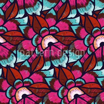 Gestickte Blumen Nahtloses Muster