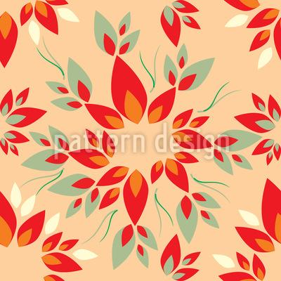 Fiery Leaves Seamless Vector Pattern Design