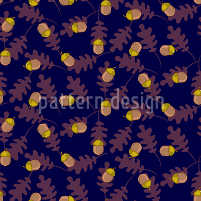 Acorn with Oak Leaves Seamless Pattern