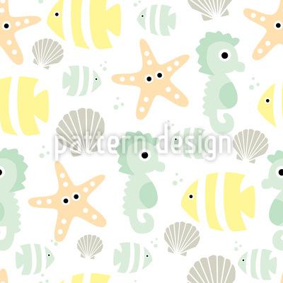 Animais do Mar Bebê Design de padrão vetorial sem costura