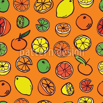 Fatias de frutas cítricas Design de padrão vetorial sem costura